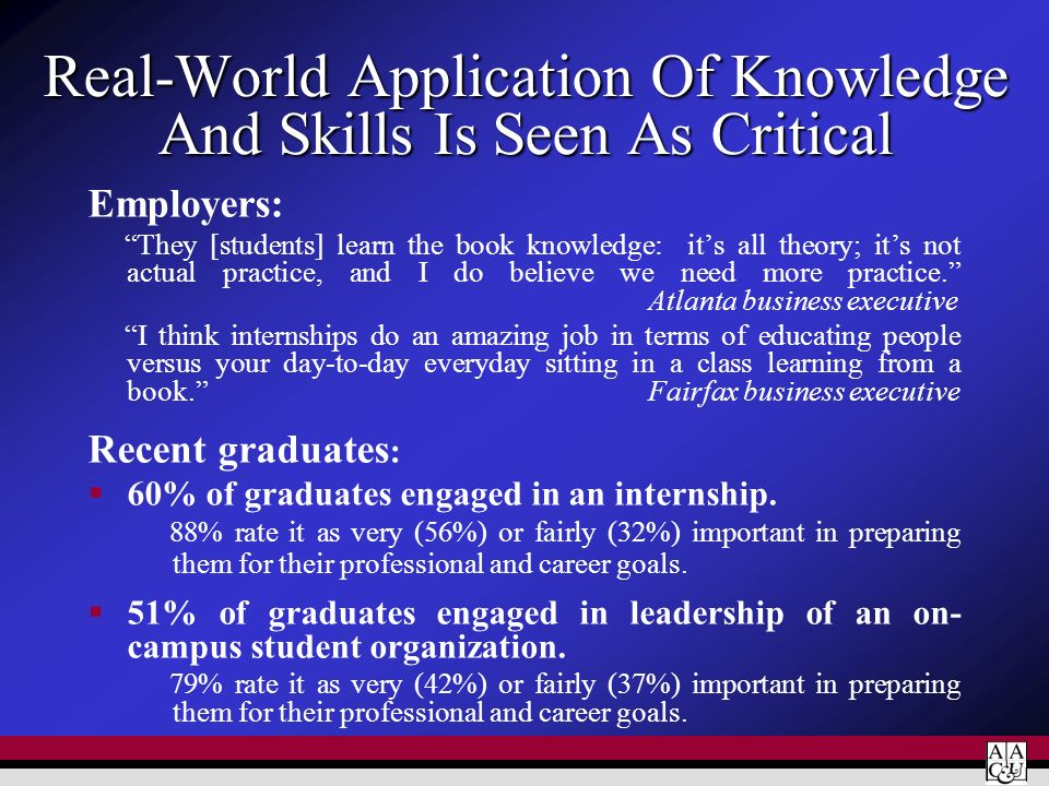 Real-World Application Of Knowledge And Skills Is Seen As Critical