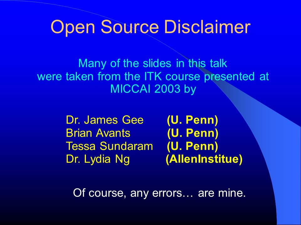 Open Source Disclaimer