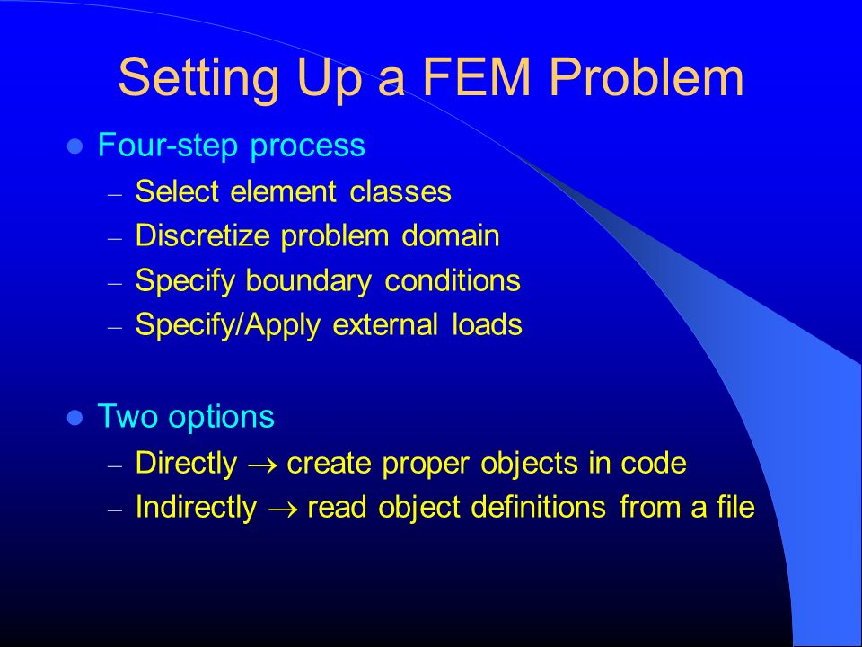 Setting Up a FEM Problem