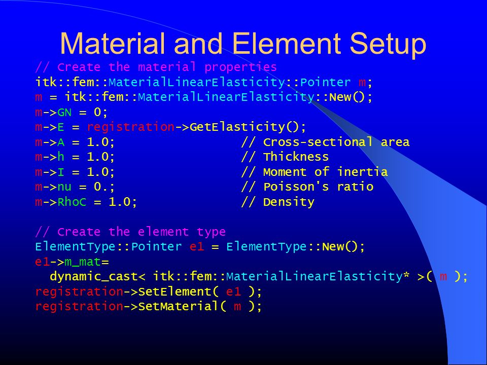 Material and Element Setup