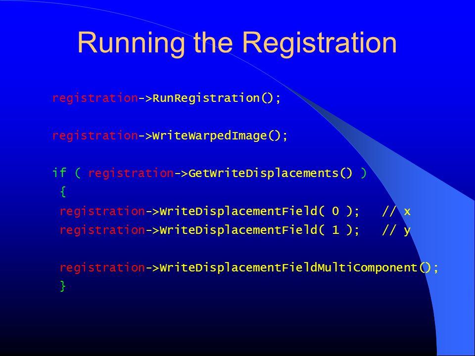 Running the Registration