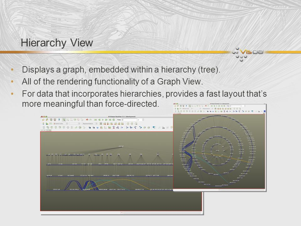 Hierarchy View Displays a graph, embedded within a hierarchy (tree).