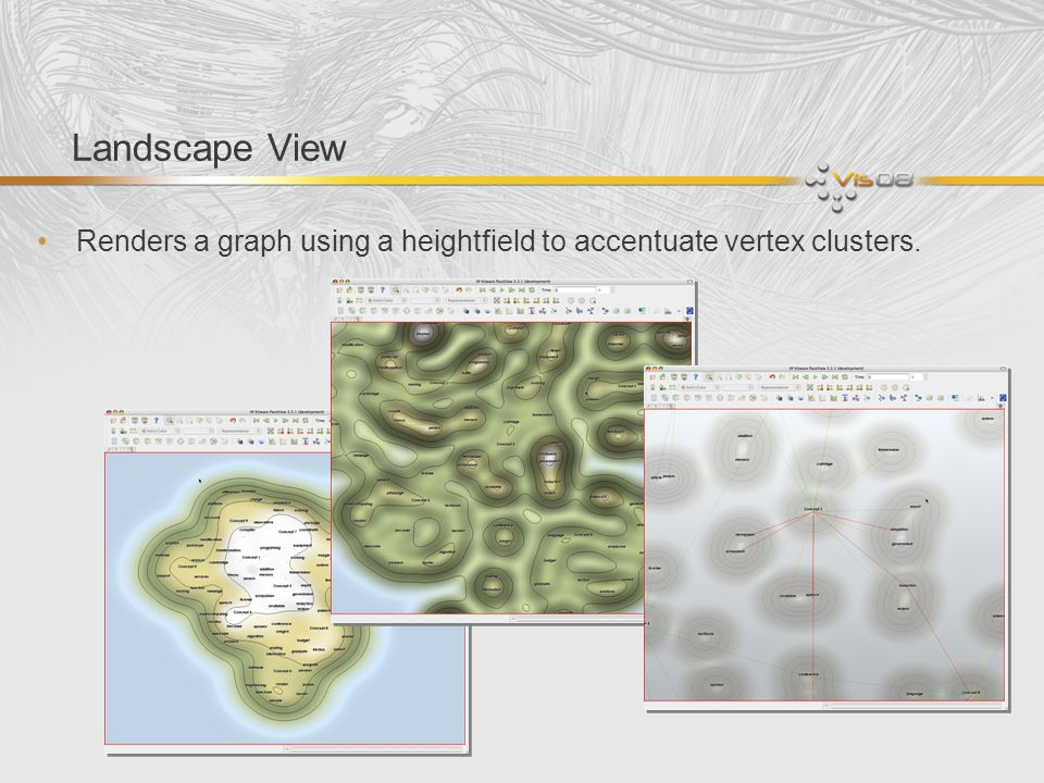 Landscape View Renders a graph using a heightfield to accentuate vertex clusters.