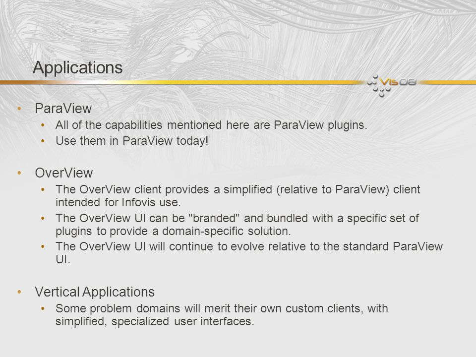 Applications ParaView OverView Vertical Applications