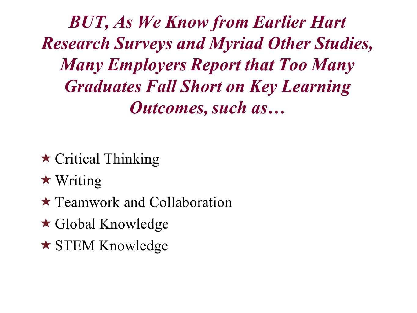 BUT, As We Know from Earlier Hart Research Surveys and Myriad Other Studies, Many Employers Report that Too Many Graduates Fall Short on Key Learning Outcomes, such as…