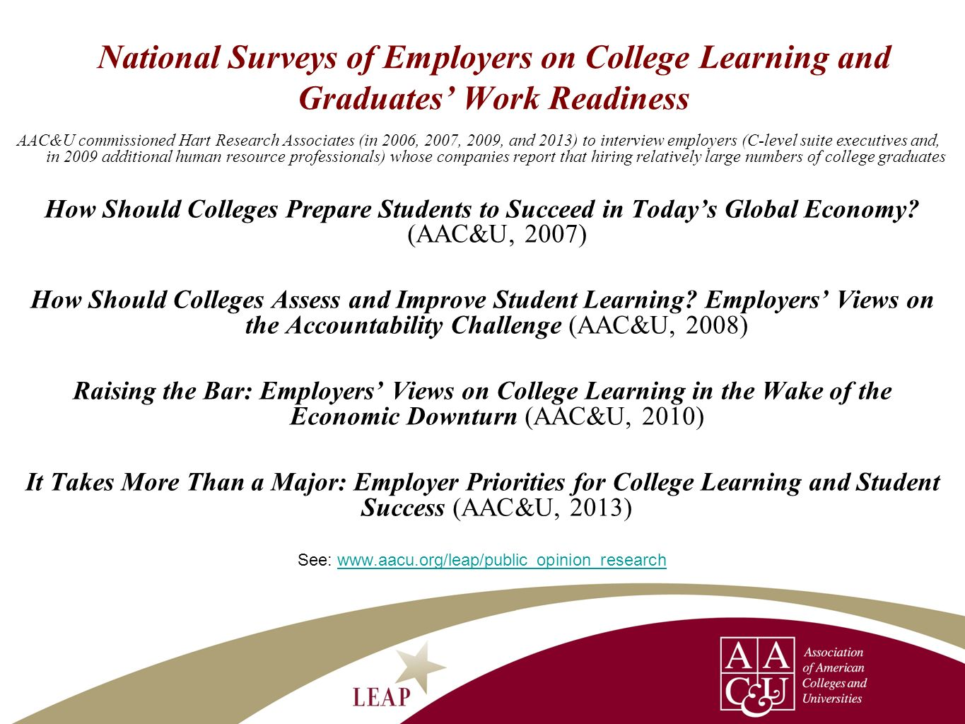 See: www.aacu.org/leap/public_opinion_research