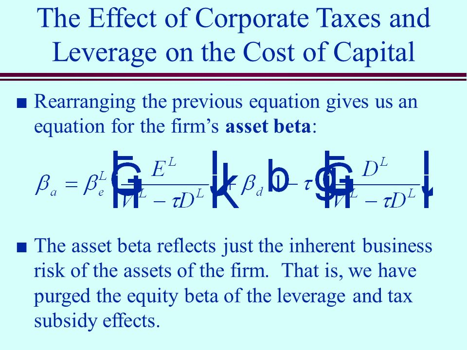 leverage effect and tax effect Cuts to its tax bill, one corner of wall street is fretting over the impact   business would have never evolved without the benefits of leverage.