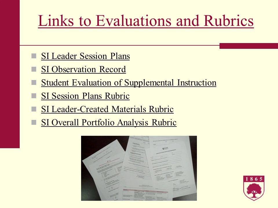 Links to Evaluations and Rubrics