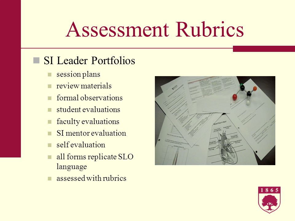 Assessment Rubrics SI Leader Portfolios session plans review materials