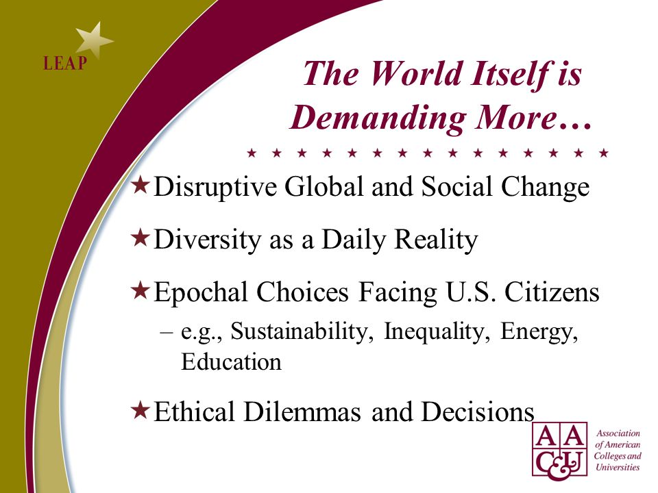 The World Itself is Demanding More…