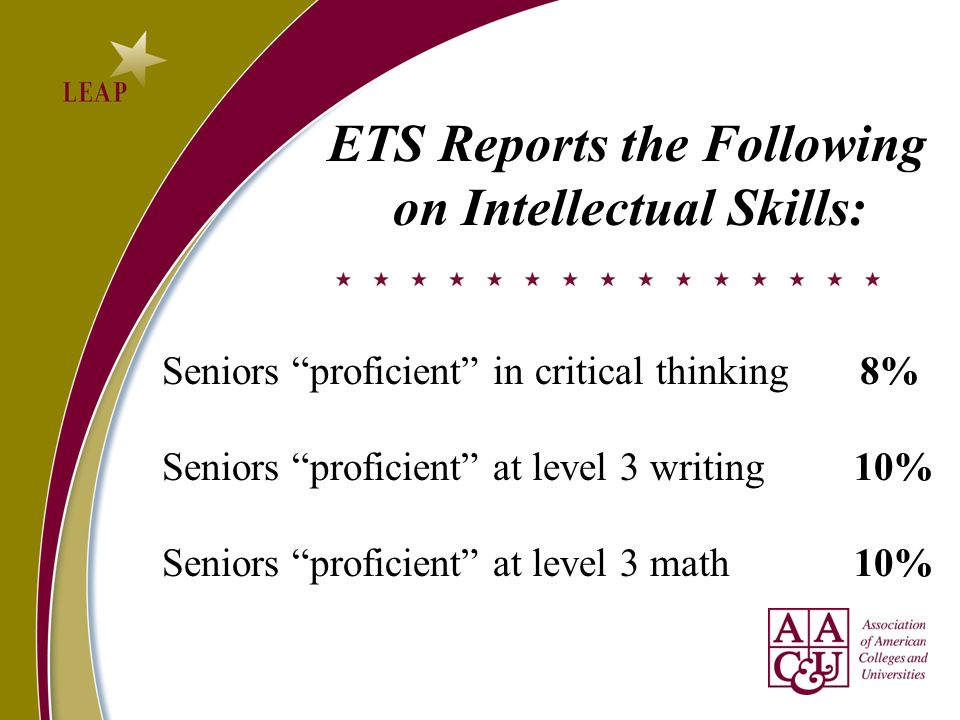 ETS Reports the Following on Intellectual Skills: