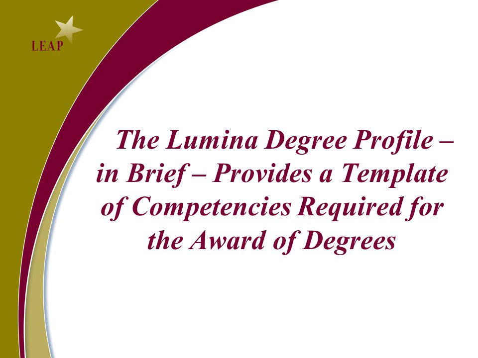 The Lumina Degree Profile – in Brief – Provides a Template of Competencies Required for the Award of Degrees