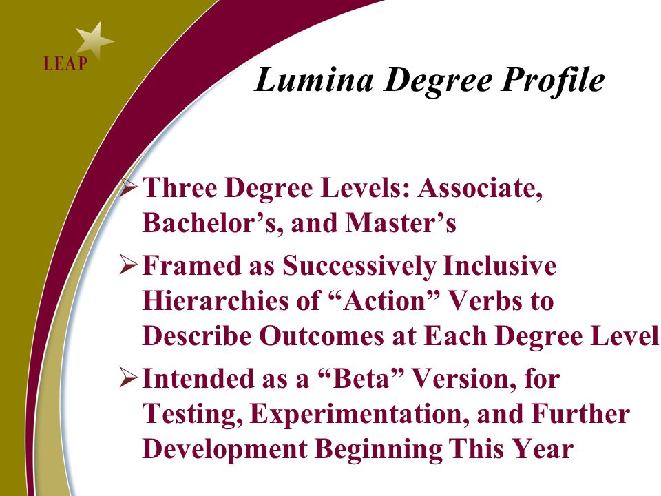 Lumina Degree Profile Three Degree Levels: Associate, Bachelor's, and Master's.