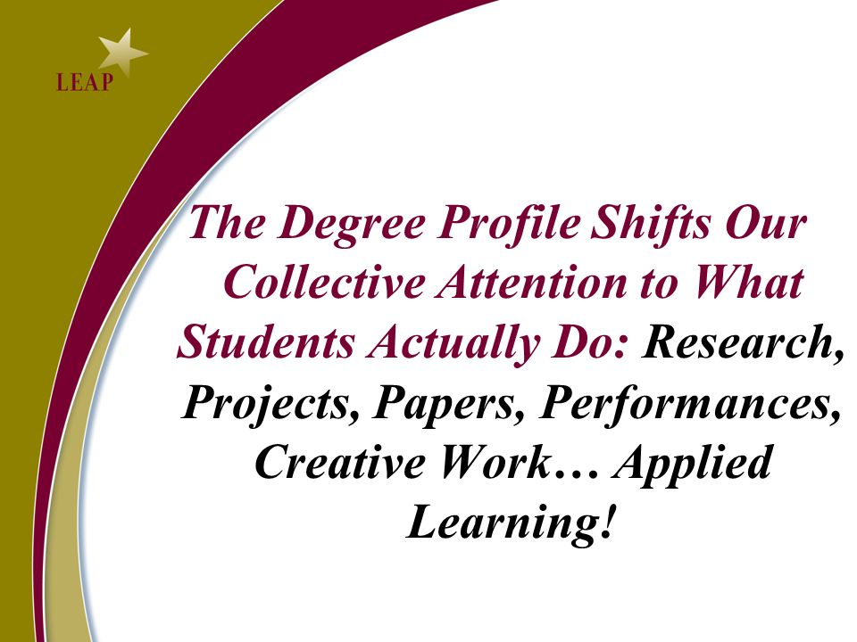The Degree Profile Shifts Our Collective Attention to What Students Actually Do: Research, Projects, Papers, Performances, Creative Work… Applied Learning!