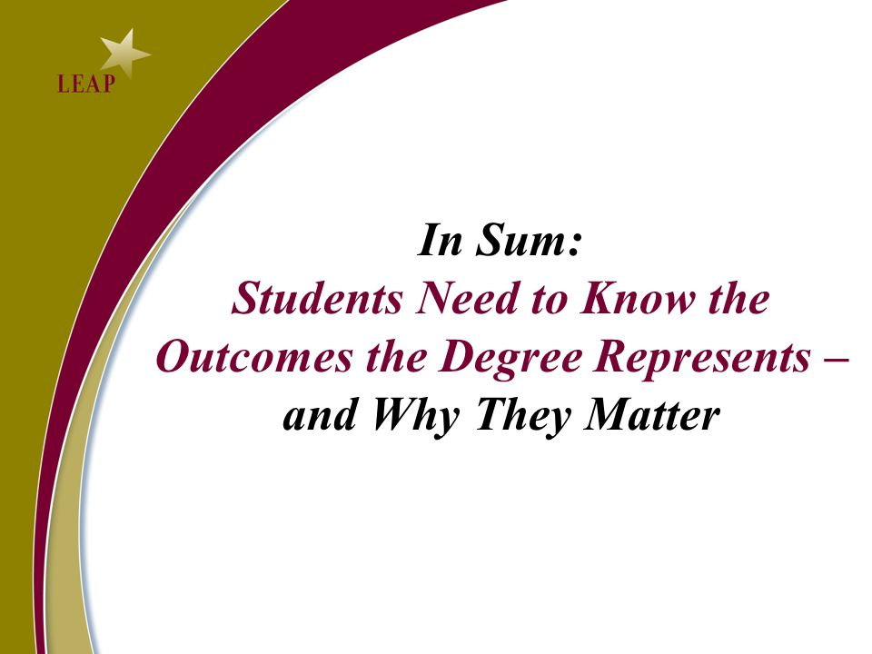 In Sum: Students Need to Know the Outcomes the Degree Represents – and Why They Matter