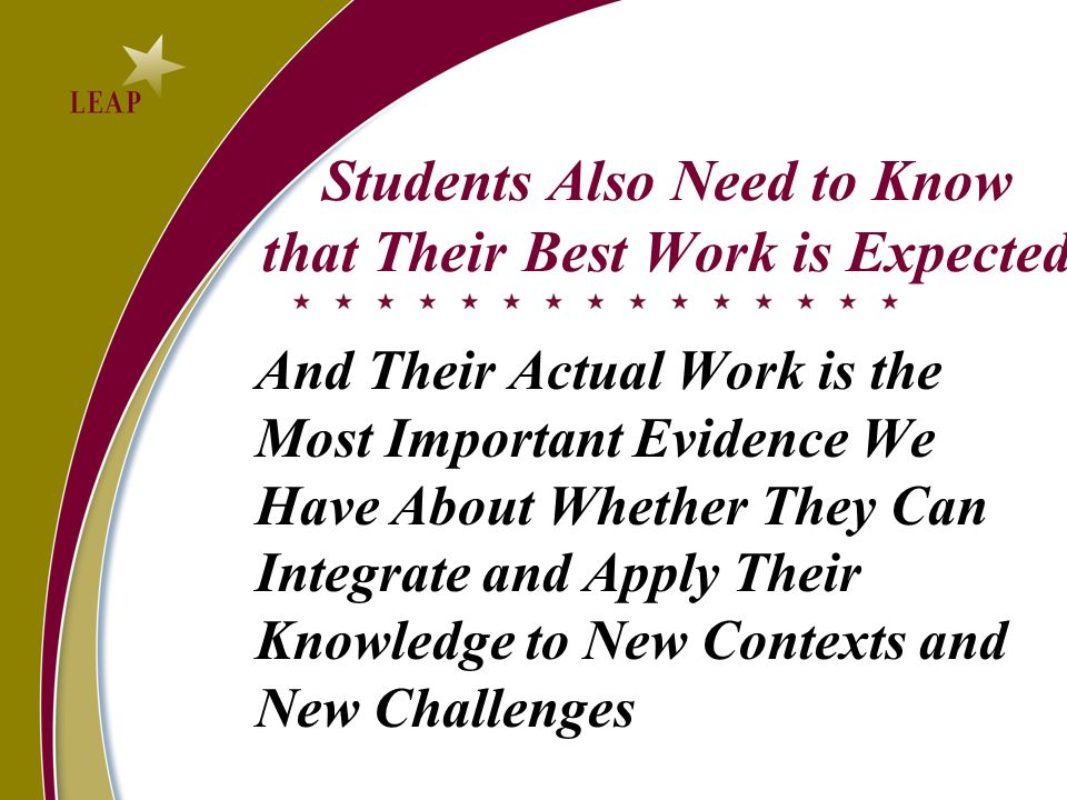 Students Also Need to Know that Their Best Work is Expected