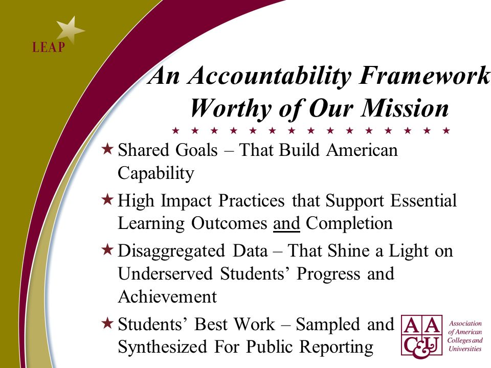 An Accountability Framework Worthy of Our Mission