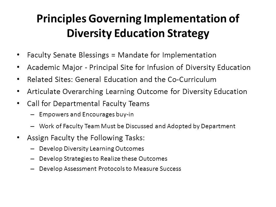Principles Governing Implementation of Diversity Education Strategy