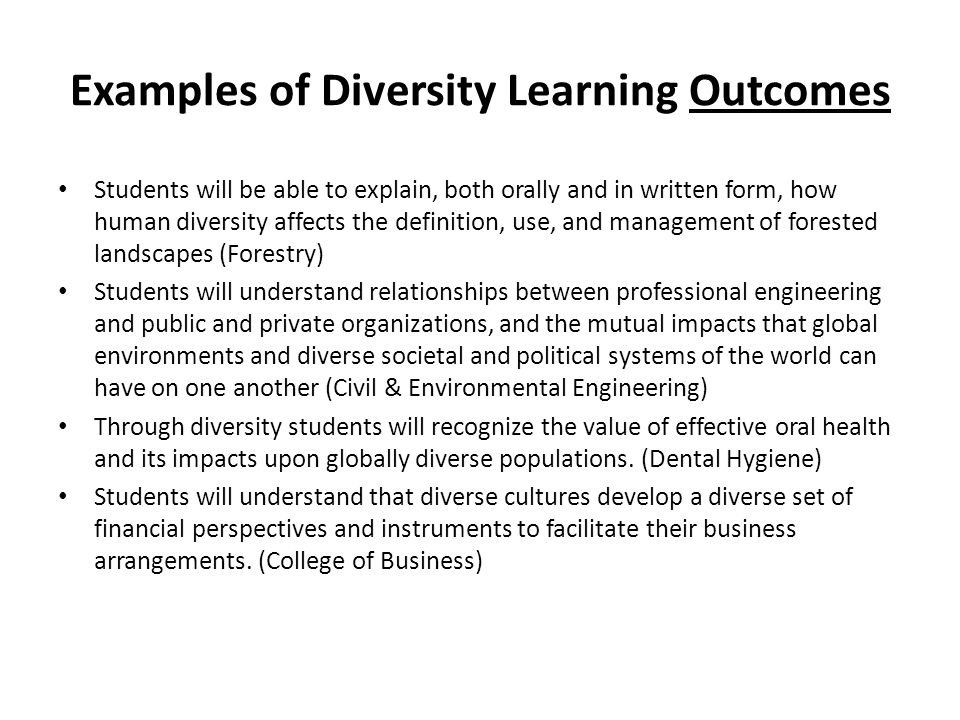 Examples of Diversity Learning Outcomes