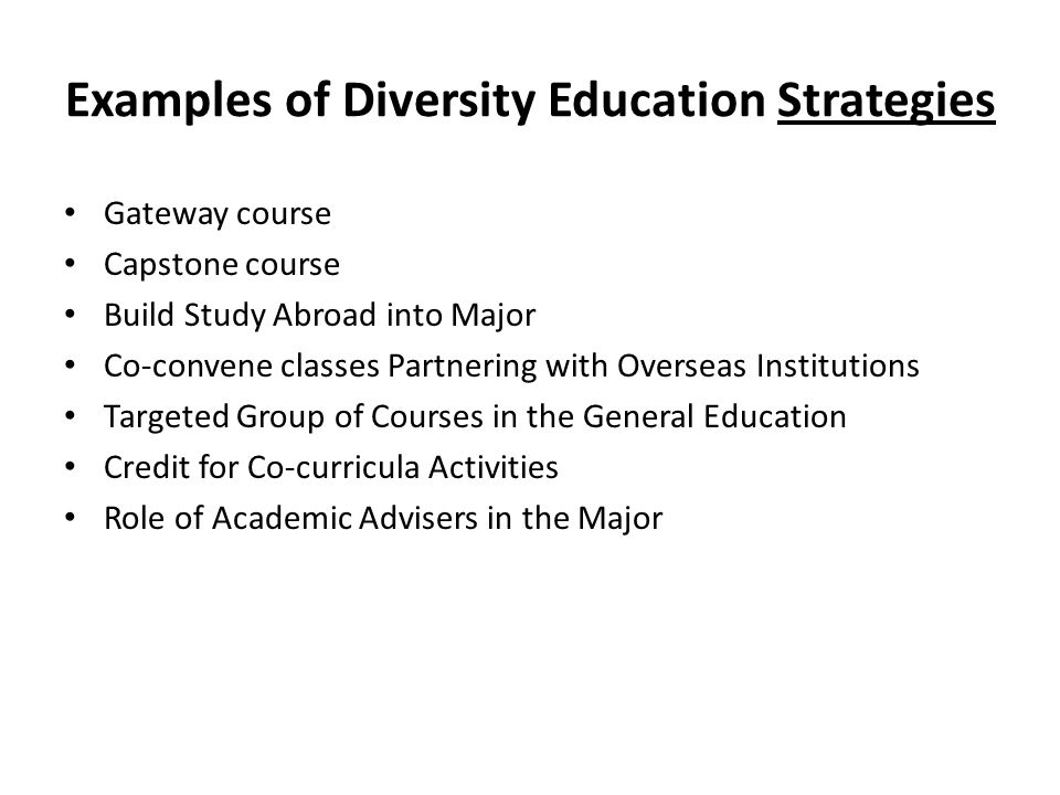 Examples of Diversity Education Strategies