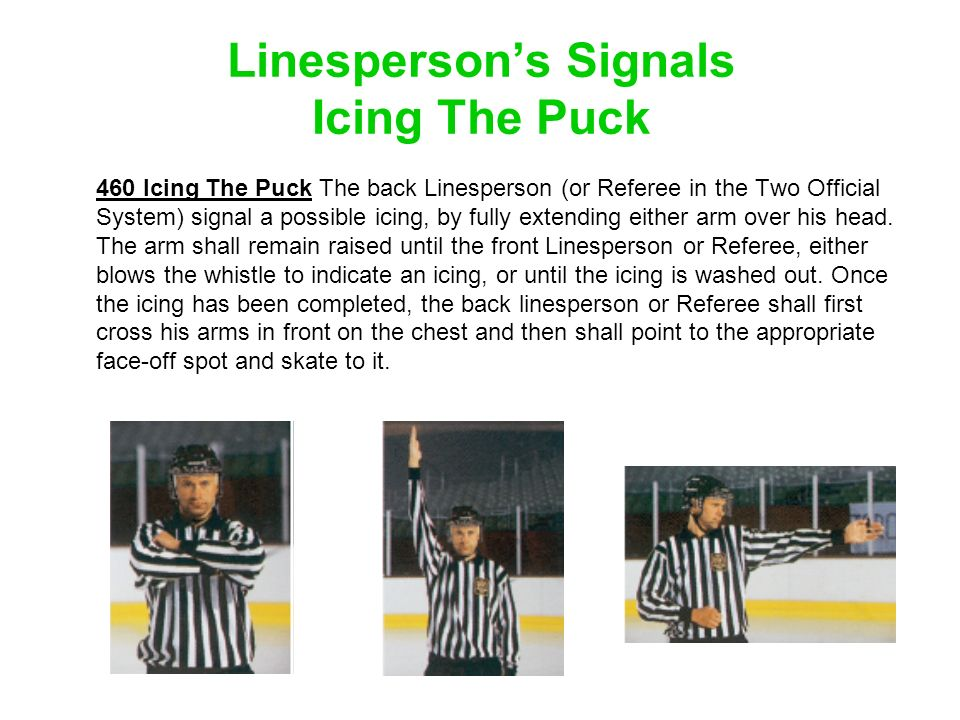 Linesperson's Signals Icing The Puck