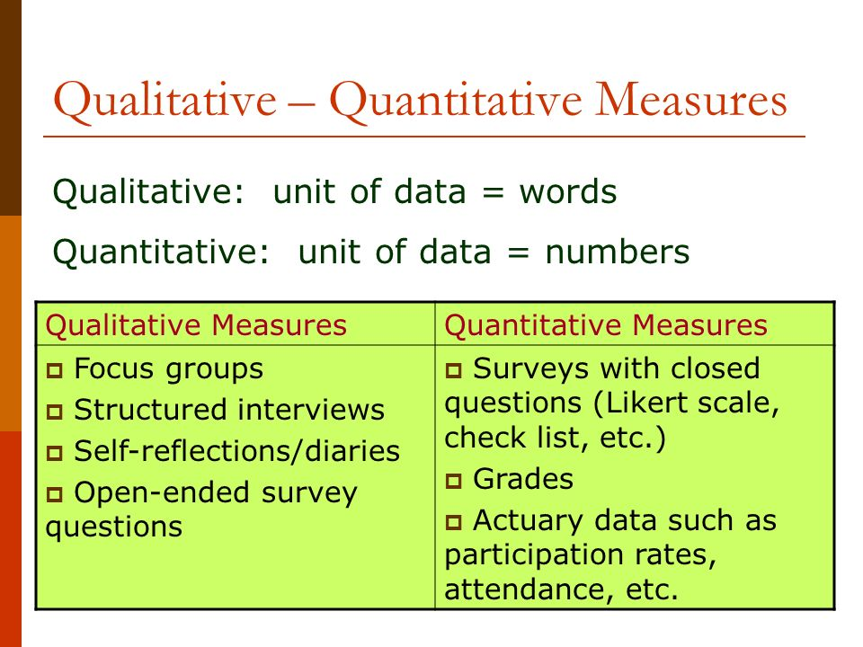 Qualitative – Quantitative Measures