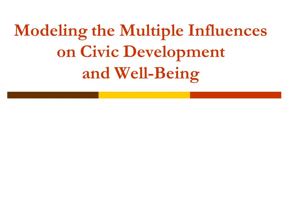 Modeling the Multiple Influences on Civic Development and Well-Being