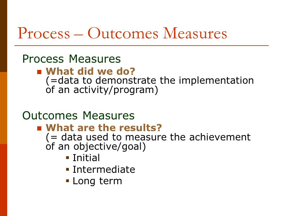 Process – Outcomes Measures
