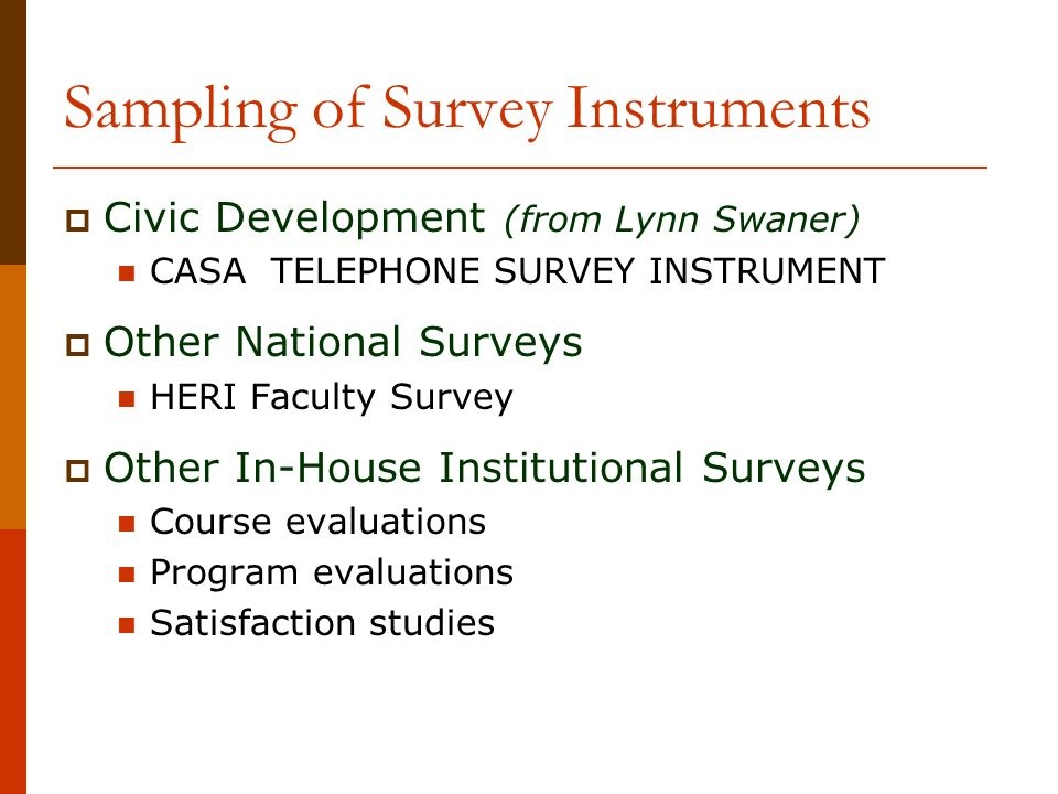 Sampling of Survey Instruments