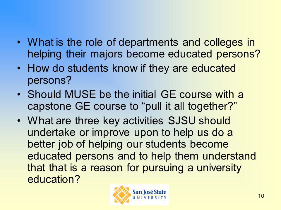 What is the role of departments and colleges in helping their majors become educated persons