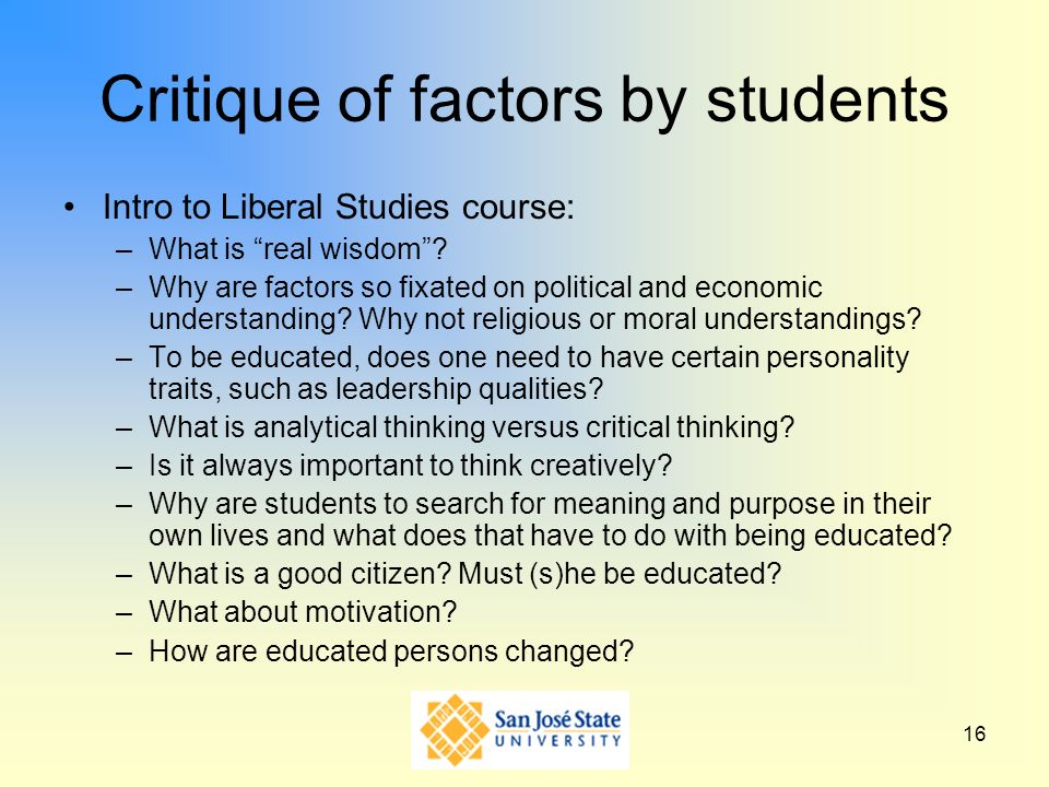 Critique of factors by students