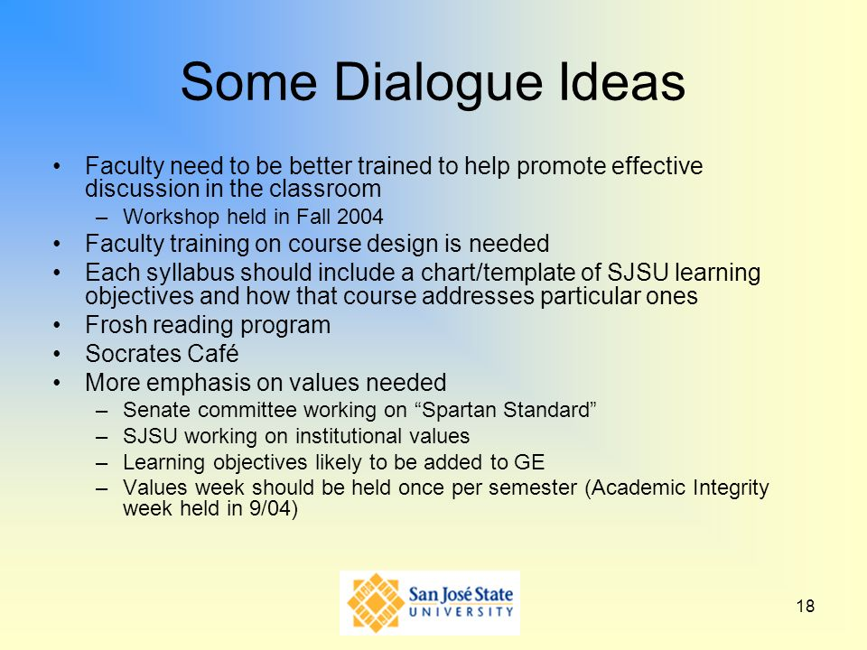 Some Dialogue Ideas Faculty need to be better trained to help promote effective discussion in the classroom.