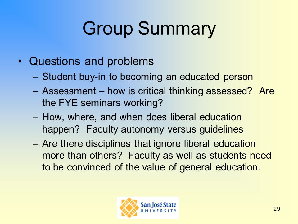 Group Summary Questions and problems