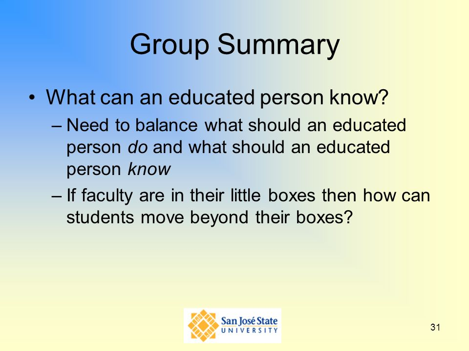 Group Summary What can an educated person know