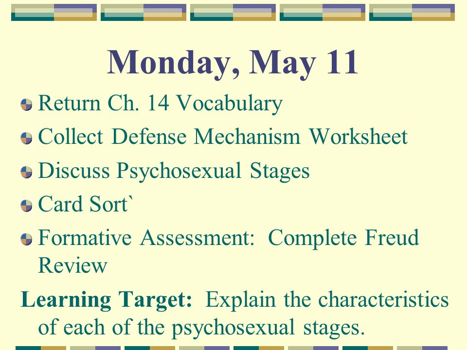 Wednesday May 20 Return Ch 14 Personality Test ppt video – Defense Mechanism Worksheet
