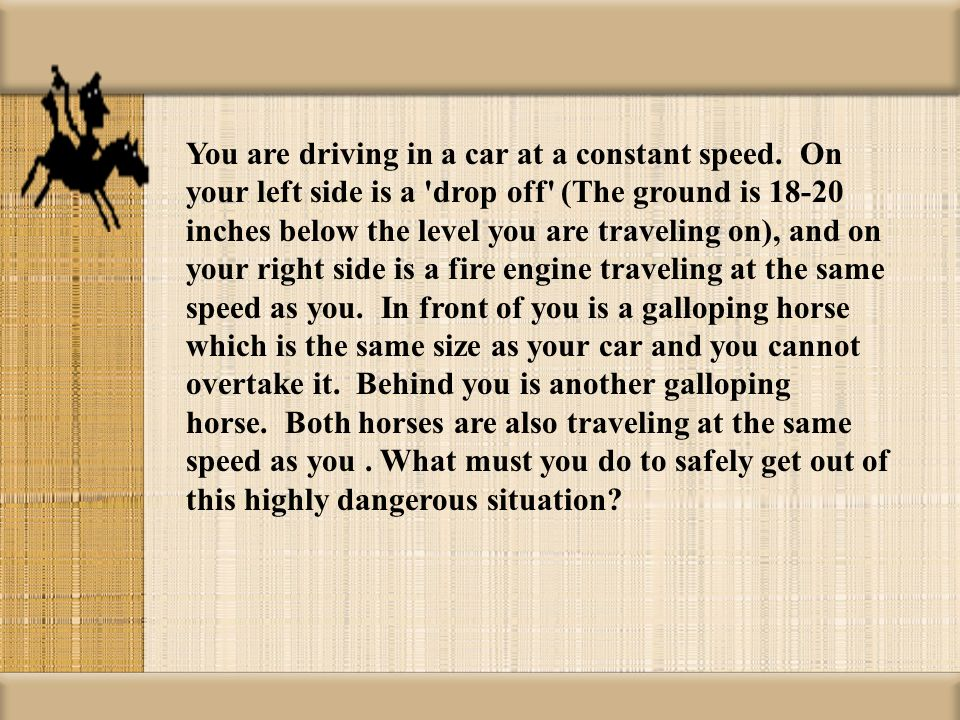 You are driving in a car at a constant speed