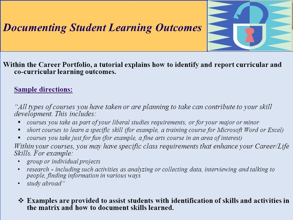 Documenting Student Learning Outcomes