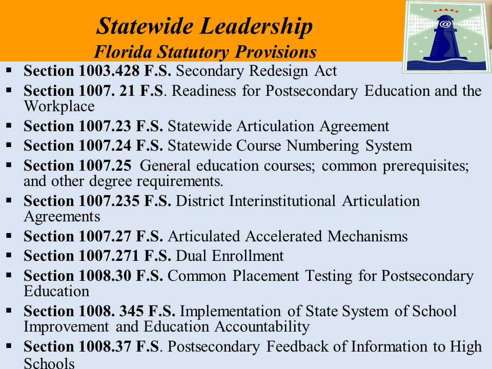 Statewide Leadership Florida Statutory Provisions