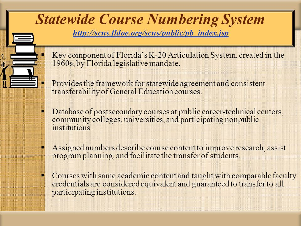 Statewide Course Numbering System   fldoe