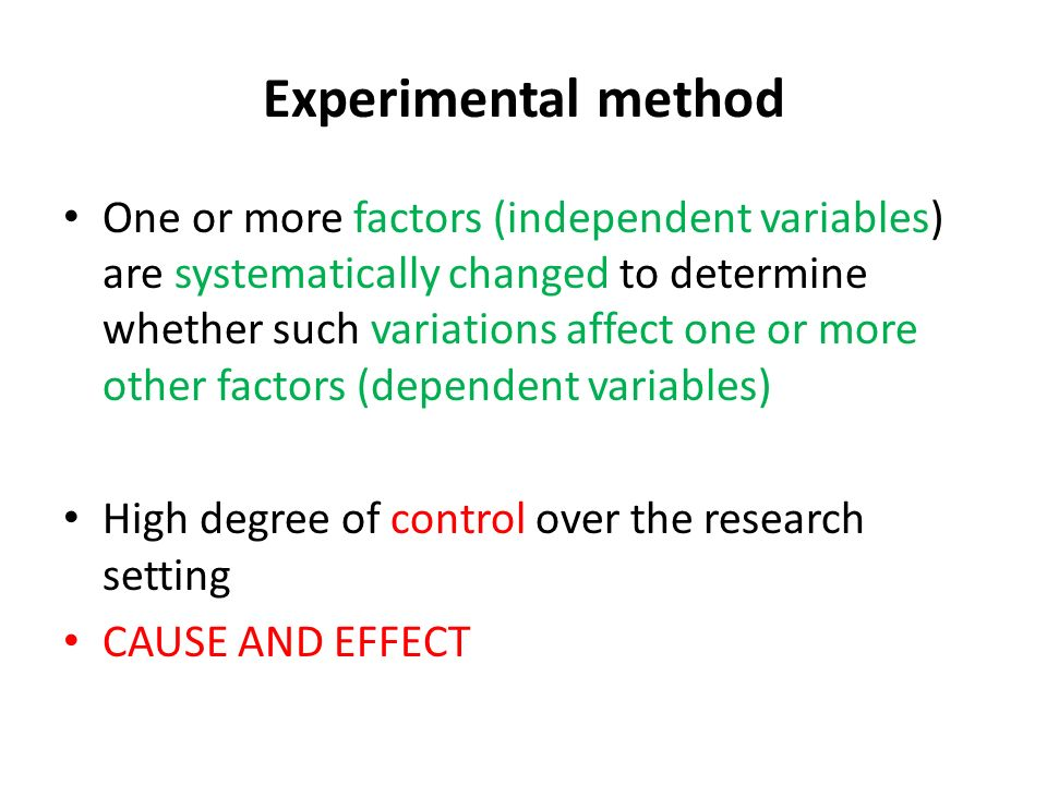 What is experimental research method