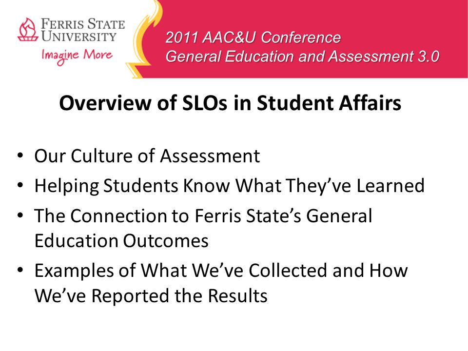 Overview of SLOs in Student Affairs