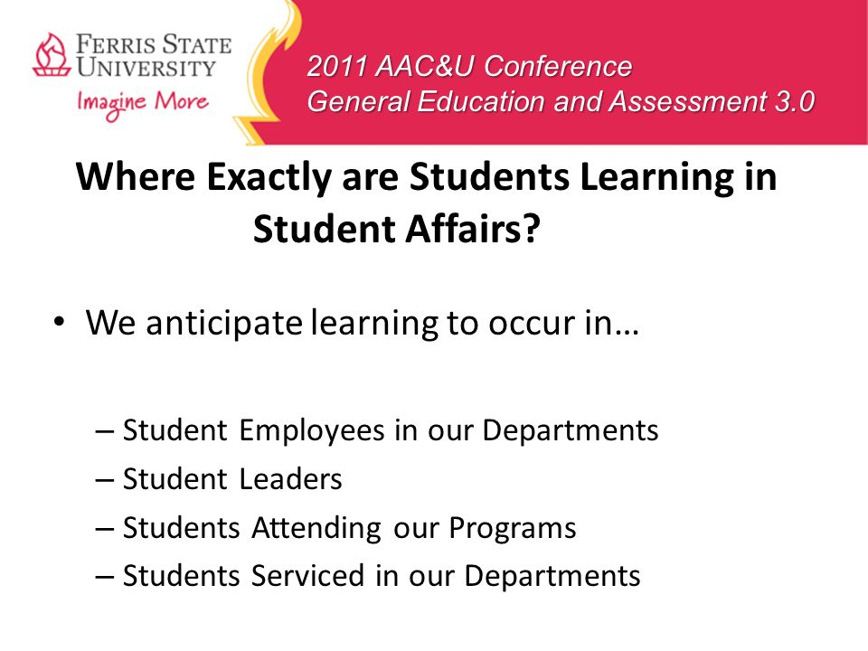 Where Exactly are Students Learning in Student Affairs