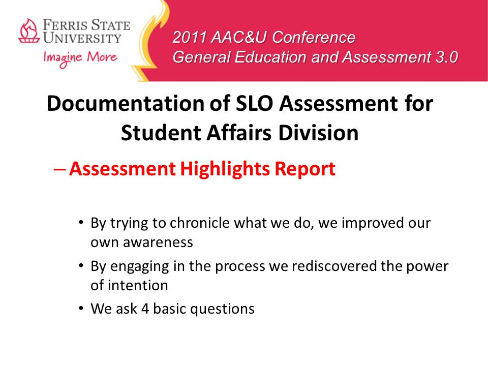 Documentation of SLO Assessment for Student Affairs Division