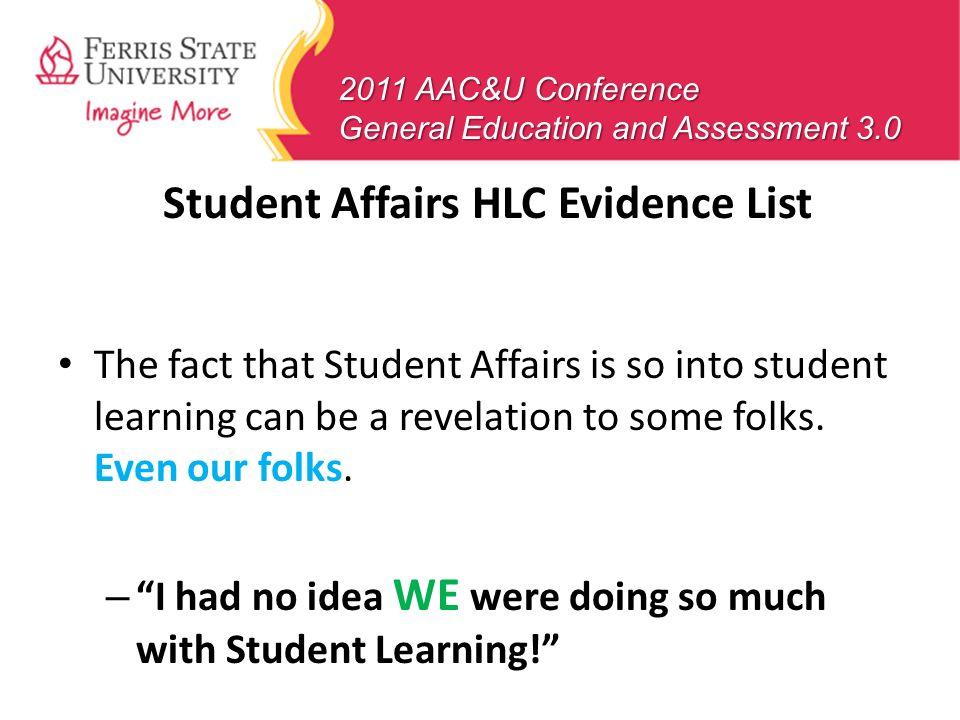 Student Affairs HLC Evidence List