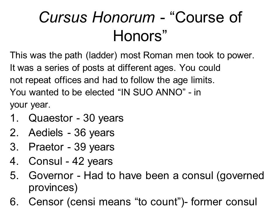 Cursus Honorum - Course of Honors