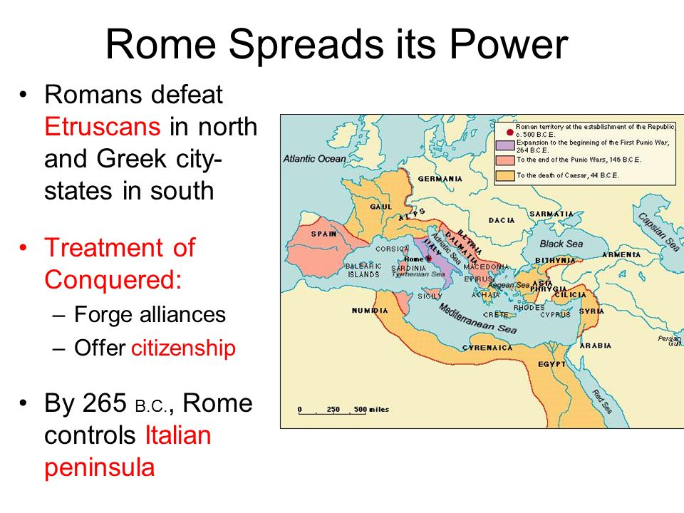 Rome Spreads its Power Romans defeat Etruscans in north and Greek city-states in south. Treatment of Conquered: