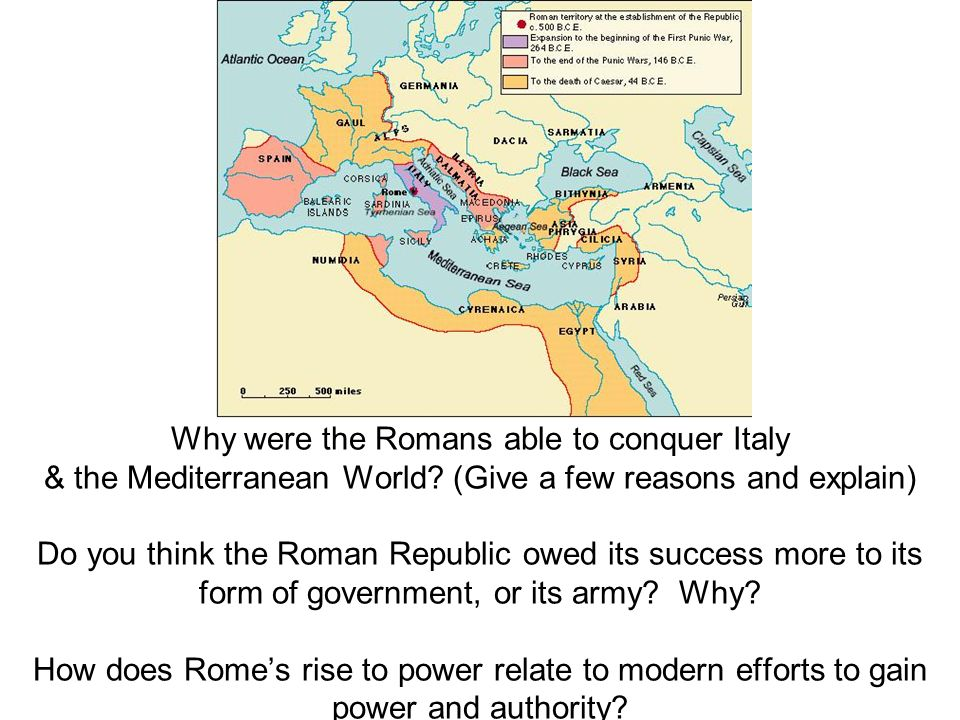 Why were the Romans able to conquer Italy & the Mediterranean World