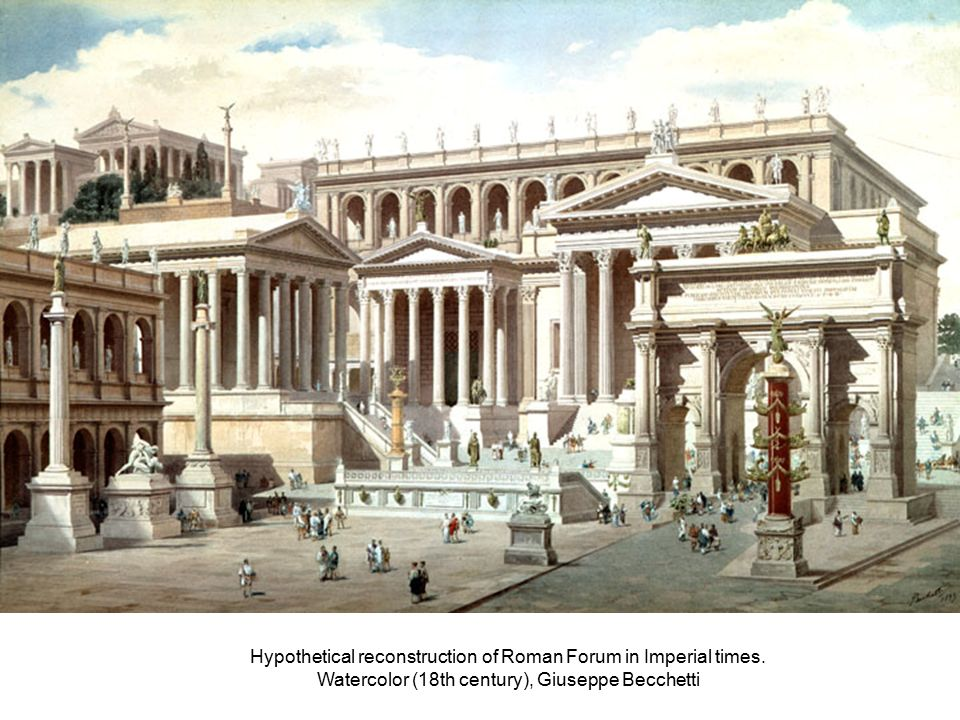 Hypothetical reconstruction of Roman Forum in Imperial times.