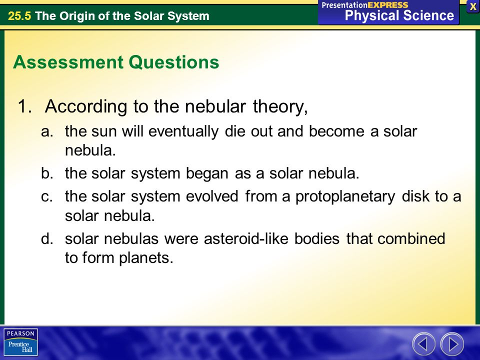 Any theory about the origin of the solar system must explain why ...