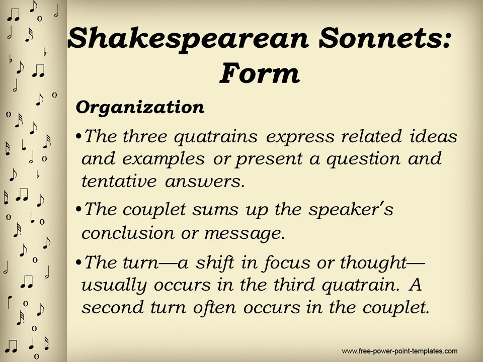 sonnet examples In this lesson, you'll learn about one of the most common forms of poetry, the sonnet in particular, you'll learn the requirements for the kind of.